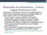 reasonable accommodations limited english proficiency lep