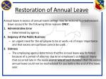 restoration of annual leave