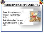 timekeeper s responsibilities