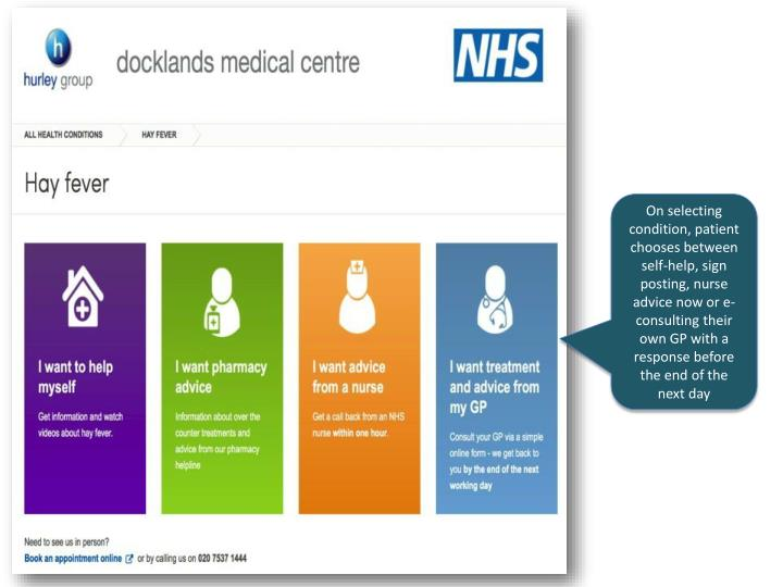 On selecting condition, patient chooses between self-help, sign posting, nurse advice now or e-consulting their own GP with a response before the end of the next day