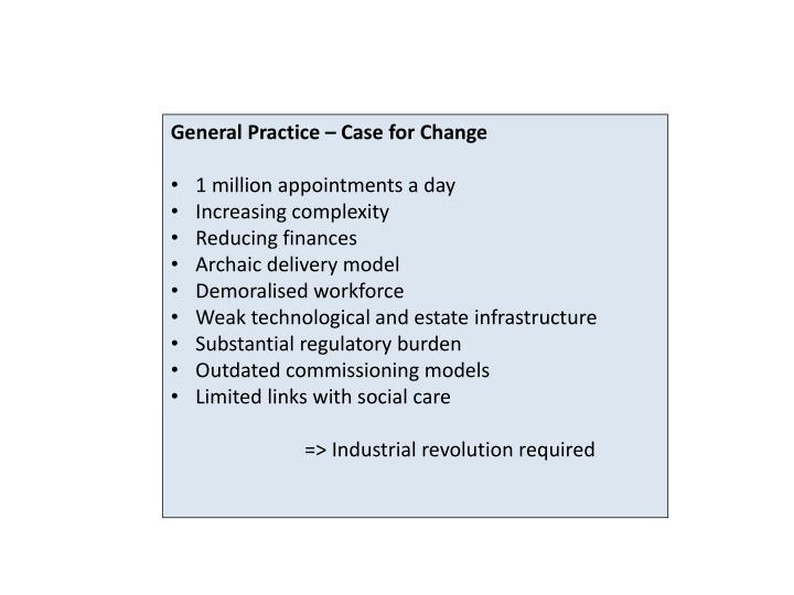 General Practice – Case for Change