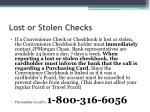 lost or stolen checks