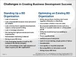 challenges in creating business development success