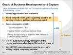 goals of business development and capture