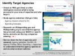 identify target agencies