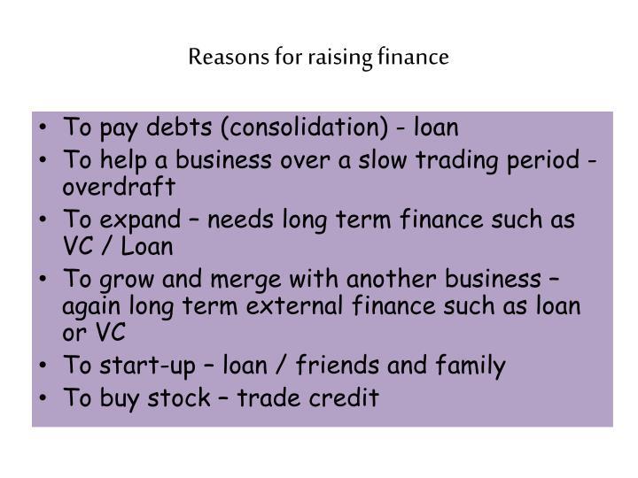 Reasons for raising finance