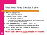 additional food service costs