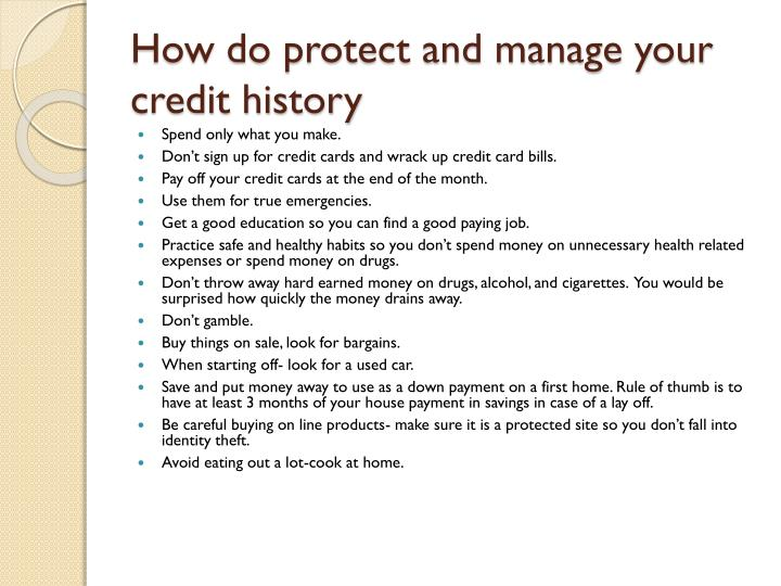 How do protect and manage your credit history