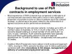 background to use of pbr contracts in employment services