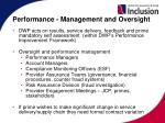 performance management and oversight