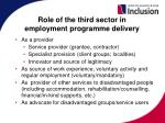 role of the third sector in employment programme delivery