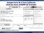 sample form w 2 from california used for form 1040nr ez example