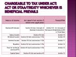 chargeable to tax under act act or dtaa treaty whichever is beneficial prevails
