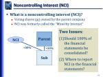 noncontrolling interest nci