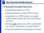 vies potential variable interests