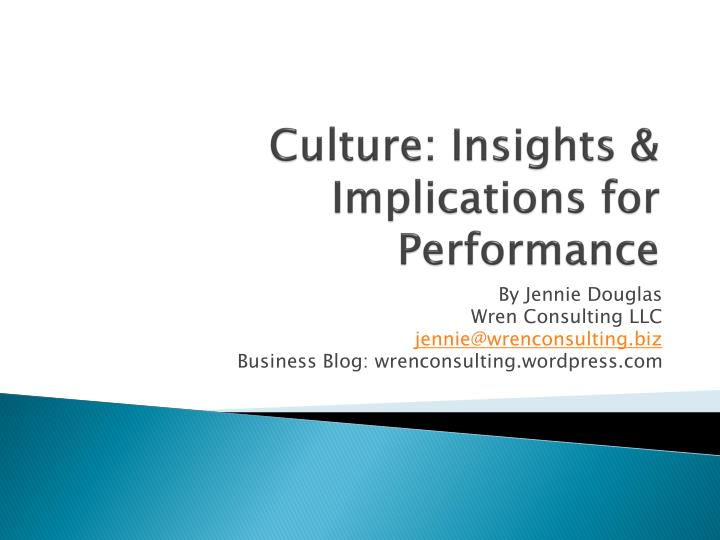 culture insights implications for performance n.