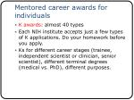 mentored career awards for individuals