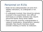 personnel on r15s