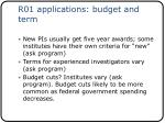 r01 applications budget and term