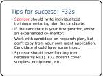 tips for success f32s1