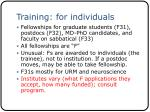 training for individuals