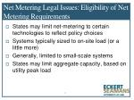 net metering legal issues eligibility of net metering requirements