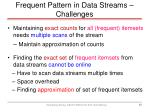 frequent pattern in data streams challenges