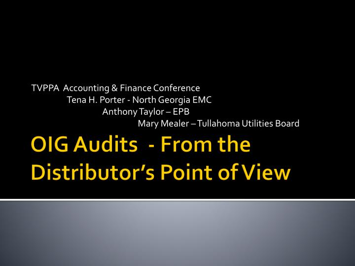 oig audits from the distributor s point of view n.