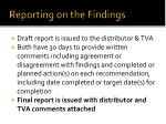 reporting on the findings1