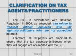 clarification on tax agents practitioners
