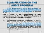 clarification on the audit program