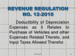 revenue regulation no 12 2010