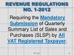 revenue regulations no 1 2012
