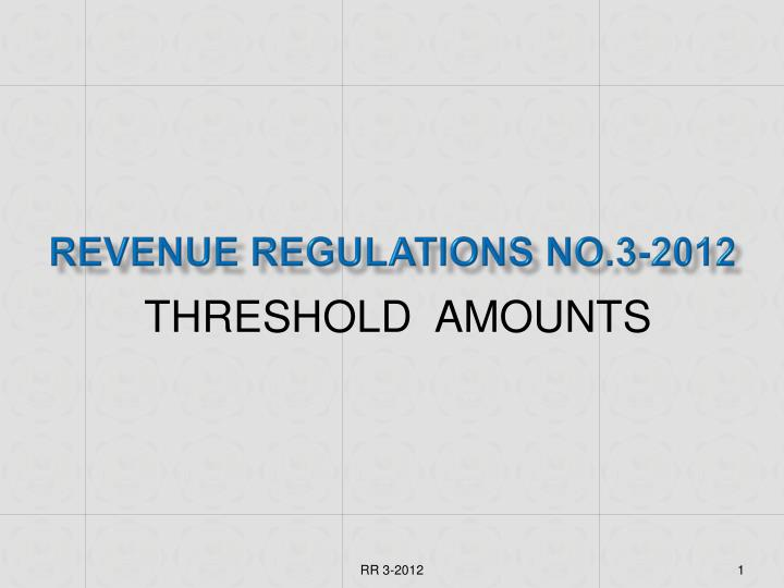 revenue regulations no 3 2012 n.