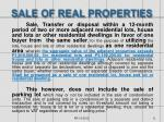 sale of real properties