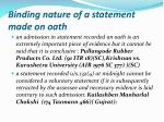 binding nature of a statement made on oath