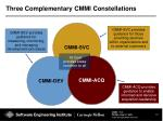 three complementary cmmi constellations