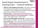 social impact measurement in housing sector research evidence