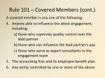 rule 101 covered members cont