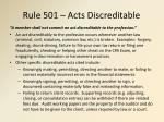 rule 501 acts discreditable