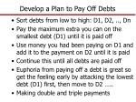 develop a plan to pay off debts