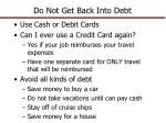 do not get back into debt1