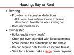 housing buy or rent