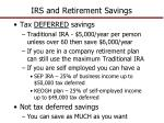 irs and retirement savings