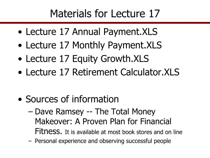 materials for lecture 17 n.