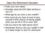 open the retirement calculator