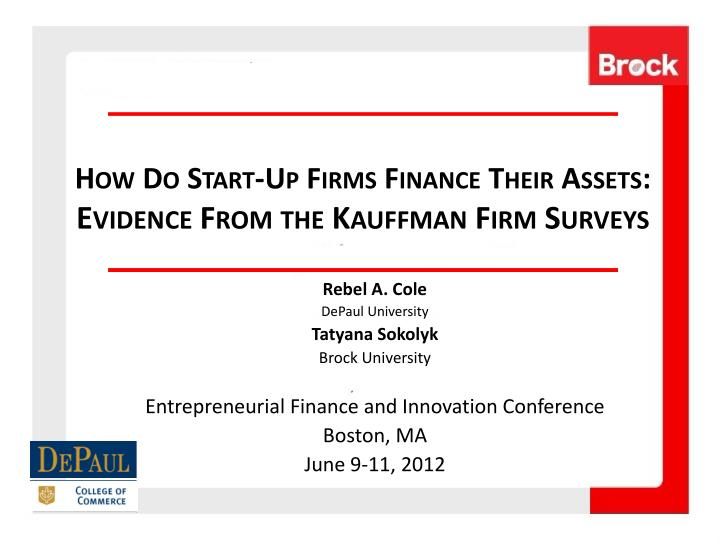how do start up firms finance their assets evidence from the kauffman firm surveys n.