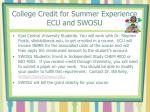 college credit for summer experience ecu and swosu