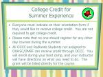 college credit for summer experience