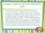 college credit for summer experience uco